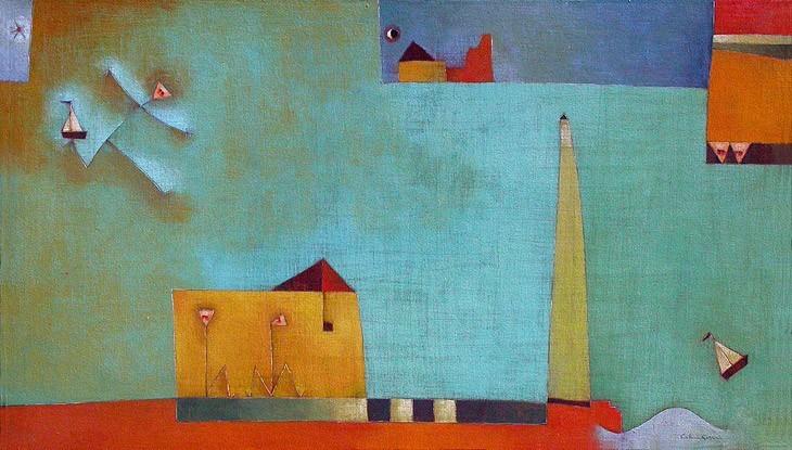 Antonia Guzmán<br>JUSTO A TIEMPO<br>Acrilico sobre tela<br>70 x 120 cm<br>Nov 2003