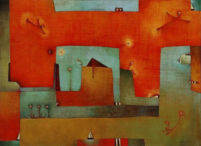 Antonia Guzmán<br>LE DICE QUE SE VA<br>Acrílico sobre tela<br>127 x 173 cm<br>Marzo 2005