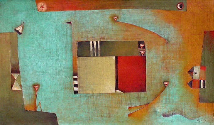 Antonia Guzmán<br>LENTO TRASLADO<br>Acrílico sobre Tela<br>71 x 102 cm<br>Feb 2004