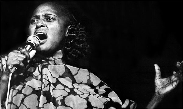 [Agence France-Presse — Getty Images] Miriam Makeba (1932-2008) during one of her concerts in 1978.
