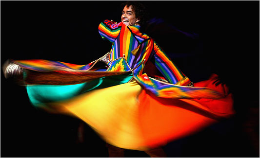 "[Photo by Chris Jackson/Getty Images] Lee Mead in ""Joseph and the Amazing Technicolor Dreamcoat"" in London."