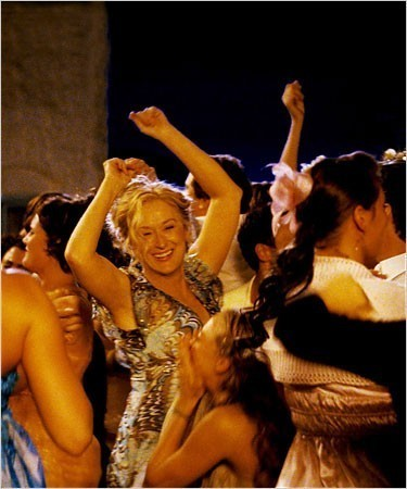 "[Universal Pictures] Meryl Streep on screen in ""Mamma Mia!"" Phyllida Lloyd directed the movie and the stage production."