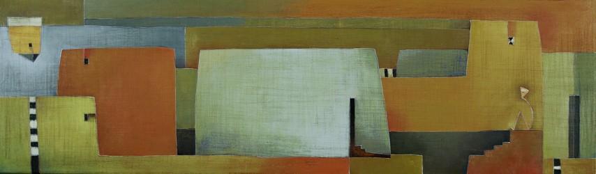 Antonia Guzmán<br>Mirando un Pueblo<br>2008<br>Acrylic on canvas<br>16 x 55 in