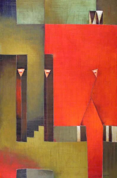 Antonia Guzmán<br>Otro en el Barrio<br>2006<br>Acrylic on canvas<br>16 x 32 in
