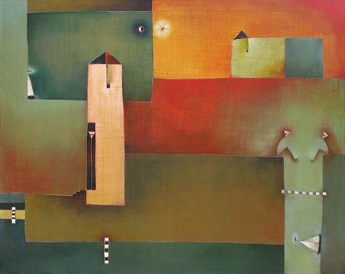Antonia Guzmán<br>POR LA VUELTA<br>Acrílico sobre tela<br>81 x 100 cm<br>Julio 2005<br>N° 413