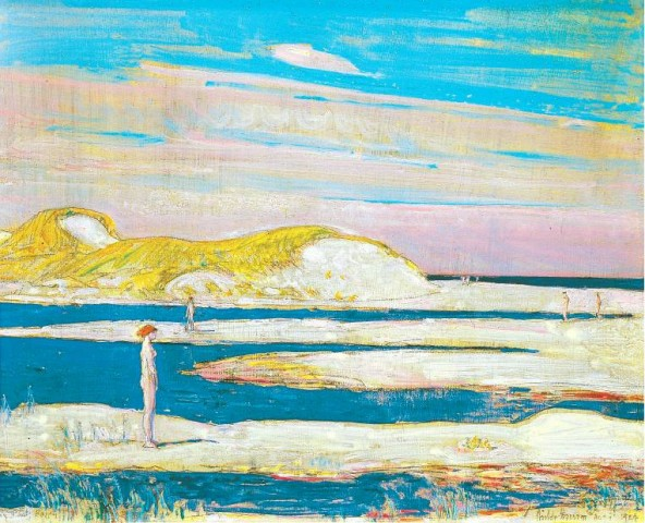 [BERNARD GOLDBERG FINE ARTS] SERENE Childe Hassam's 'Flying Point Beach, Watermill' (1924) will be on display at ArtHamptons, which opens in Bridgehampton on Friday.