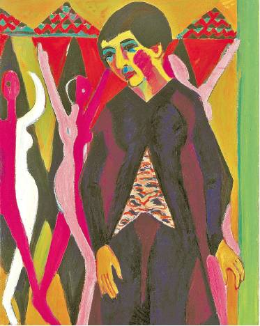 [COURTESY MICHAEL WERNER GALLERY, NEW YORK AND BERLIN] LONG AND TALL Ernst Ludwig Kirchner's 'Portrait of Mrs. Albert Müller (Bildnis Frau Albert Müller)' (1926/1932), a detail of which is above, is on view at the Michael Werner Gallery.