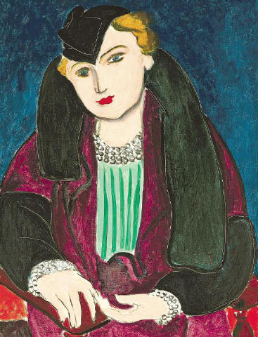 [CHRISTIE'S IMAGES LTD. 2008]LEADING LADY Henri Matisse's 'Portrait au manteau bleu' (1935), a detail of which is above, sold for $22.4 million at the Christie's sale of Impressionist and Modern art last night. For more results, please see page 17.