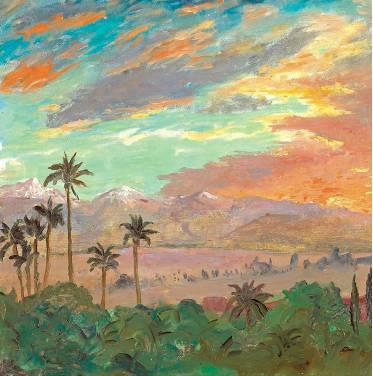 [BONHAMS NEW YORK] A detail of Winston Churchill's 'Sunset over the Atlas Mountains' (1935), which will be auctioned April 23 at Bonhams.