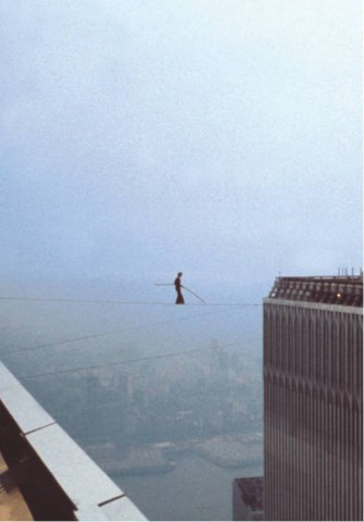 [JEAN - LOUIS BLONDEAU/POLARIS IMAGES]NO TURNING BACKPhilippe Petit halfway between Tower I and Tower II on August 7, 1974.
