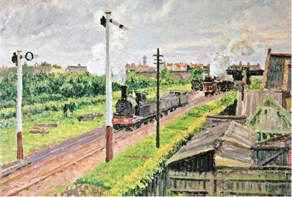 [YALE UNIVERSITY PRESS] THROUGH TOWN A detail of Camille Pissarro's 'The Train, Bedford Park' (1897), which is included in the book and exhibit 'The Railway: Art in the Age of Steam.'