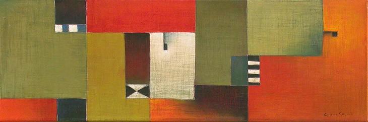Antonia Guzmán<br>SOLA BLANCA<br>Acrílico sobre tela<br>26 x 77 cm<br>Julio 2005<br>N 412