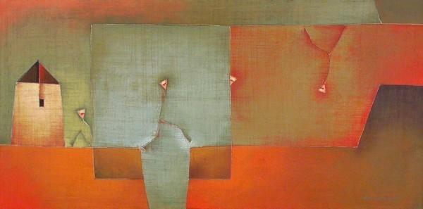 Antonia Guzmán<br>Se Vá Sin Que lo Echen<br>2006<br>Acrylic on canvas<br>16 x 32 in