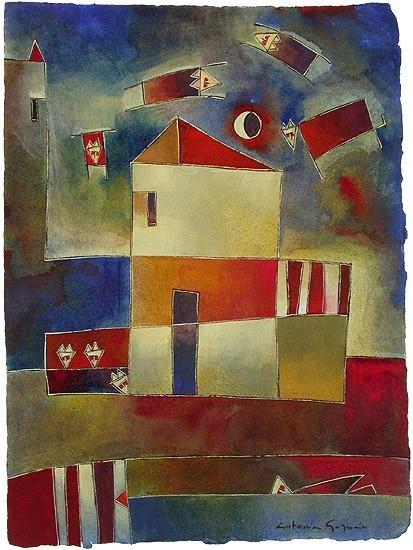 Antonia Guzmán<br>SUEÑO DE GRANJERO<br>Acuarela sobre papel 30,5 x 22,5 cm<br>Feb 2003