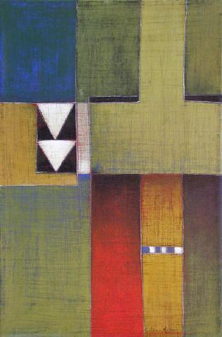 Antonia Guzmán<br>Superimposed/ Superpuestos<br>2005<br>13 x 9 inches<br>painting, acrylic on canvas
