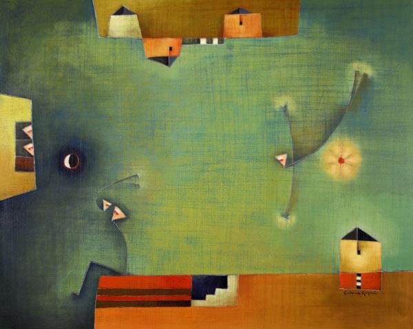 Antonia Guzmán<br>The Announcement/ El Anuncio<br>2008<br>32 x 40 inches<br>painting, acrylic on canvas