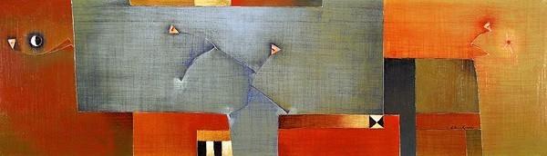 Antonia Guzmán<br>The Election/ La Eleccion<br>2008<br>16 x 55 inches<br>painting, acrylic on canvas