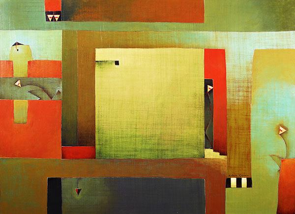 Antonia Guzmán<br>The Escape/La Huida<br>2007<br>40 x 55 inches<br>painting, acrylic on canvas