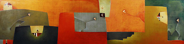 Antonia Guzmán<br>The Great Walker/ Gran Caminante<br>2007<br>22 x 90 inches<br>painting, acrylic on canvas