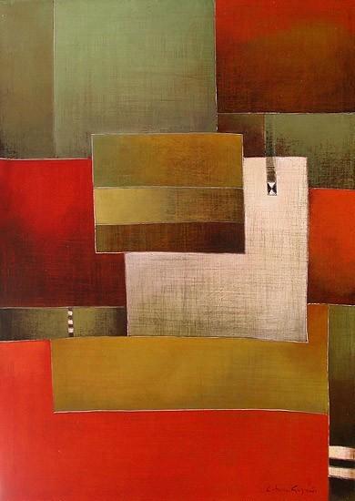 Antonia Guzmán<br>UNA IDEA DE PUEBLO<br>Acrílico sobre tela<br>70 x 50 cm<br>Mayo 2005