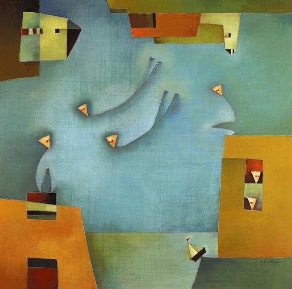"""Antonia Guzmán<br>""""Vienen Llegando""""<br>140 x 140 cm<br>Sep 2008<br>Acrílico"""