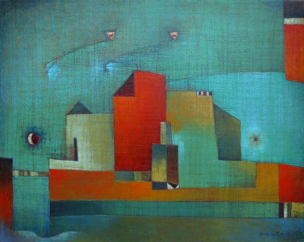 Antonia Guzmán<br>VIAJANTES<br>2003<br>16 x 20 inches<br>painting, acrylic on canvas