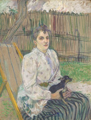Henri de Toulouse-LautrecFrench, 1864 - 1901Lady with a Dog, 1891oil on cardboard, 75 x 57.2 cm (29 1/2 x 22 1/2 in.)Gift of the W. Averell Harriman Foundation in memory of Marie N. Harriman1972.9.22