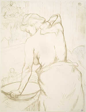Henri de Toulouse-Lautrec French, 1864 - 1901 / Auguste Clot (printer) French, 1858 - 1936 Woman Washing Herself (Femme qui se lave), 1896 color lithograph on thin wove paper overall: 52 x 40.1 cm (20 1/2 x 15 13/16 in.) Rosenwald Collection 1964.8.1891