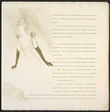 Henri de Toulouse-LautrecFrench, 1864 - 1901/ Yvette Guilbert, 1894lithograph in olive greenimage: 34 x 18.7 cm (13 3/8 x 7 3/8 in.) sheet: 38 x 38.4 cm (14 15/16 x 15 1/8 in.)New Century Fund, Gift of Edwin L. Cox - Ed Cox Foundation2000.1.5