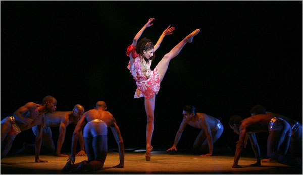 "Alicia J. Graf as a strung-out pop star in the revival of ""Flowers,"" choreographed by Alvin Ailey. In Ms. Graf's portrayal the character is an innocent caught in the vise of fame."