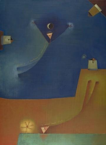 """Antonia Guzman<br>(b. 1954)<br>Fantasma Esperanza (Phantom Hope)<br>Acrylic on canvas<br>40"""" x 30""""<br>Framed: 40"""" x 30""""<br>2009"""