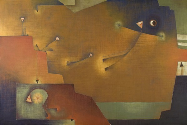 "Antonia Guzmán<br>La gran esperanza (the Great Hope)<br>Acrylic on canvas<br>40"" x 60""<br>Framed: 40"" x 60""<br>2009"
