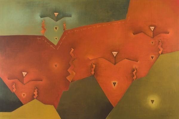 """Antonia Guzmán<br>La gran sangre (The Great Blood)<br>Acrylic on canvas<br>40"""" x 60""""<br>2009"""