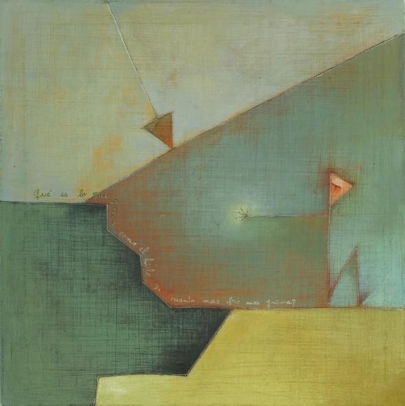 """Antonia Guzmán<br>Turandot<br>Acrylic on canvas<br>15-3/4"""" x 15-3/4""""<br>2009"""