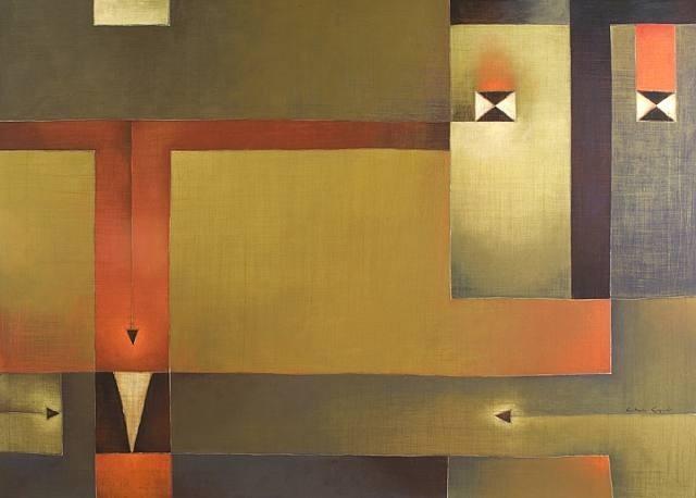 Antonia Guzmán<br>Cuando Te pregunto (When I Ask You)<br>Acrylic on canvas<br>2009<br>h: 40.5 x w: 56 in<br>h: 102.9 x w: 142.2 cm