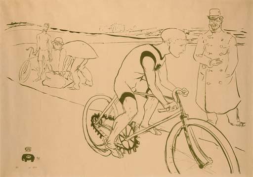 HENRI DE TOULOUSE-LAUTREC, lithograph in olive-green, 1896