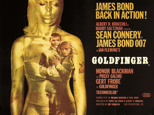 Goldfinger1964, Eon/United Artists, British quad, style A -- 30x40in. (76x105cm.), (A-)Design by Robert Brownjohn