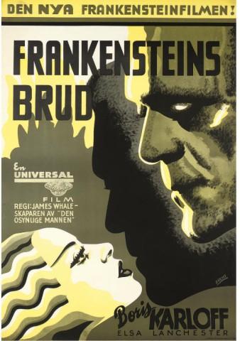 Bride Of Frankenstein Frankenstein's Brud1935, Universal, Swedish -- 39x27in. (99x69cm.), linen-backed, (A-) unfoldedArt by Fuchs
