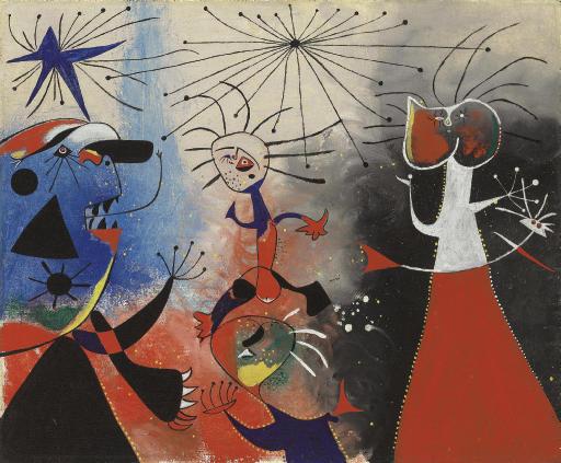 Joan Miro (1893-1983)La caresse des étoilessigned 'Miró' (center)oil on canvas23¾ x 28 7/8 in. (60.3 x 69.3 cm.)Painted 22 July 1938