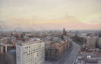 Antonio López (b. 1936) Madrid desde Torres Blancas signed and dated 'A. López García, 1976-82' (lower right) oil on board 61¾ x 96 3/8in. (156.8 x 244.9cm.) Painted in 1976-82