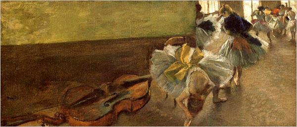"""[Photo: Librado Romero/The New York Times] Edgar Degas, In these paintings Degas takes a """"Rosencrantz and Guildenstern Are Dead"""" view of ballet, seeing it askew, from a distance, at an angle from which it was never designed to be viewed."""