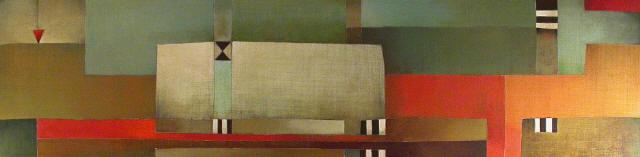 """Antonia Guzmán<br>Espacios del Silencio<br>oil on canvas<br>22"""" X 90"""""""