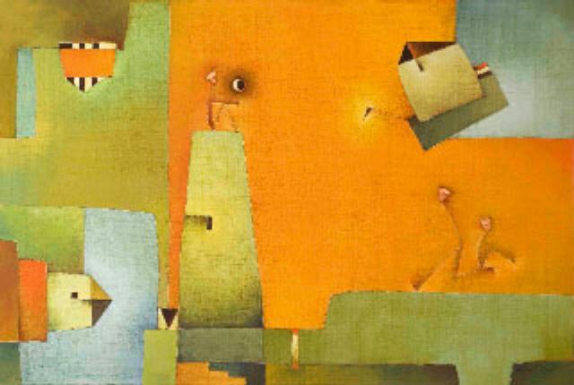 Antonia Guzmán<br>Espera Con Luna<br>Oil on canvas<br>81 X 121 cm