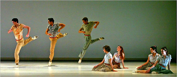 """[Andrea Mohin/The New York Times]Among the works American Ballet Theater performed during its opening night at City Center Tuesday was Paul Taylor's """"Company B."""""""
