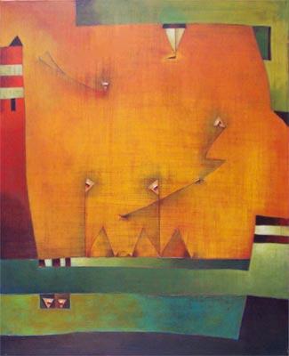 Antonia Guzman<br>El despegue<br>acryl op doek,<br>80x100 cm<br>€ 3200