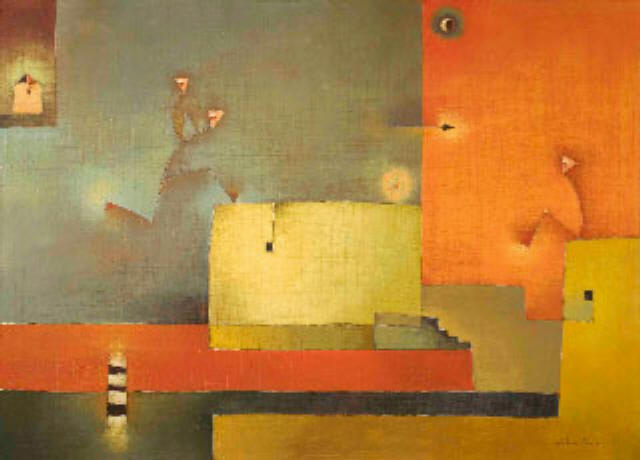 Antonia Guzmán<br>La Nostalgia<br>Oil on canvas<br>30'' X 40''
