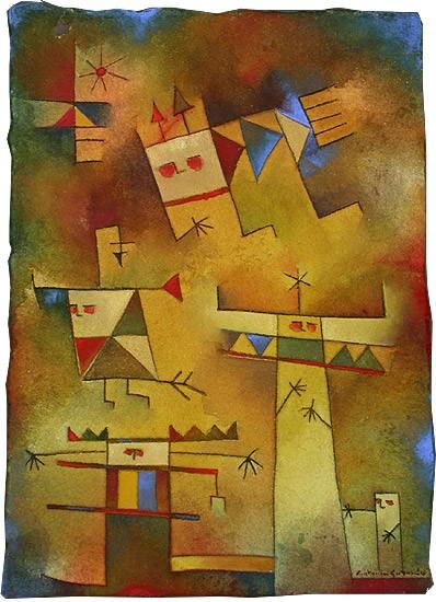 Antonia Guzmán: LAS COMADRES Acuarela 25 x 13 cm. 1997