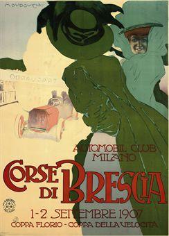 Marcello Dudovich (1878-1962)CORSE DI BRESCIAlithograph in colours, 1907, printed by Off. G. Ricordi & C., Milano, condition B+; backed on linen55 x 40in. (140 x 102cm.)