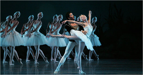 """[Joe Gato] Miami City Ballet: Yang Zou, left foreground, with Haiyan Wu, in """"Swan Lake"""" at the Adrienne Arsht Center."""