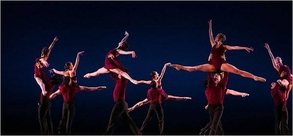 "[Ruby Washington/The New York Times] Members of Ballet de Monterrey performing Yanis Pikieris's ""Danzón"" at the Joyce Theater."